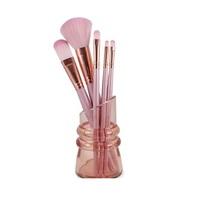 Kit Pincéis de Maquiagem Jacki Design com suporte, 5 itens, rosa