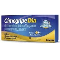 Cimegripe Dia 800mg + 20mg, caixa com 12 comprimidos revestidos