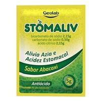 Stomaliv 430mg/g + 430mg/g + 100mg/g, caixa com 10 envelopes com 5g de pó efervescente de uso oral, abacaxi