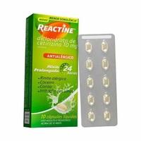Reactine 10mg, caixa com 10 cápsulas gelatinosas moles