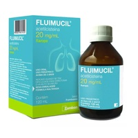 Fluimucil 20mg/mL, caixa com 1 frasco com 120mL de xarope + copo medidor