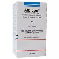 0,006g/g + 0,884g/g + 0,11g/g, caixa com 1 frasco com 20g de pó de uso dermatológico