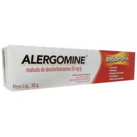 Alergomine Creme 10mg/g, caixa com 1 bisnaga com 30g de creme de uso dermatológico