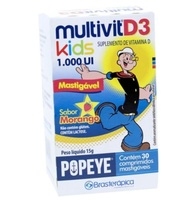 Multivit D3 Kids Popeye morango, 1000mg, caixa com 30 comprimidos mastigáveis