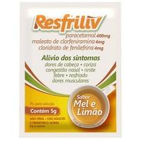 Resfriliv 400mg + 4mg + 4mg, envelope com 5g de pó para solução de uso oral, mel/limão