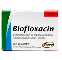 Biofloxacin - 50mg, caixa com 10 comprimidos