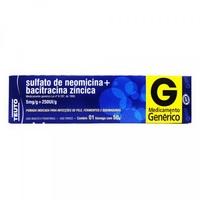 Bacitracina Zíncica + Sulfato de Neomicina Teuto 5mg/g + 250UI/g, caixa com 1 bisnaga com 50g de pomada de uso dermatológico