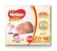 Fralda Huggies Soft Touch Primeiros 100 Dias RN, 18 unidades