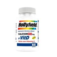 Cálcio + Vitamina D Hollyfield 600mg, frasco com 60 cápsulas