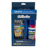 - 4 unidades + espuma de barbear Gillette Prestobarba, 1 unidade com 155mL
