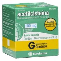 Acetilcisteína Eurofarma 100mg/g, caixa com 16 envelopes com 5g de granulado de uso oral