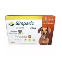 Simparic 5,1 a 10Kg, 20mg, caixa com 3 comprimidos
