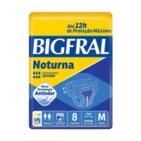 Fralda Geriátrica Bigfral Noturna M, pacote com 8 unidades
