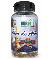 Óleo de Alho Ourifito 500mg, frasco com 90 cápsulas