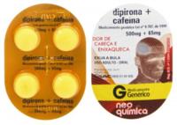 Dipirona Sódica + Cafeína Neo Química 500mg + 65mg, blister com 4 comprimidos