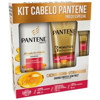 Kit Cabelo Pantene Cachos Hidra-vitaminados Shampoo, 400mL + Condicionador 3 Minutos Milagrosos, 170mL + Ampola, 15mL