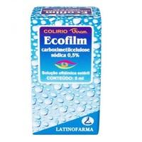 Ecofilm 5mg/mL, caixa com 1 frasco gotejador com 15mL de solução de uso oftálmico