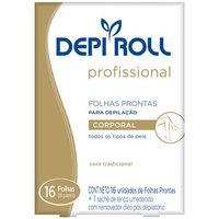 Folha Pronta para Depilação Corporal DepiRoll profissional, 16 unidades + lenço pós-depilatório, 1 unidade