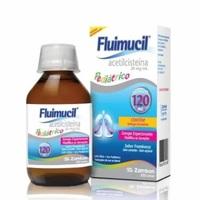 Fluimucil 20mg/mL, caixa com 1 frasco com 120mL de xarope infantil + copo medidor