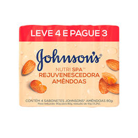 Sabonete Johnson's Nutri SPA amêndoas, barra, 80g, leve 4 pague 3