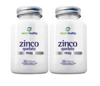 Zinco Quelato Nature Healthy 28mg, frasco, 2 unidades com 60 cápsulas cada