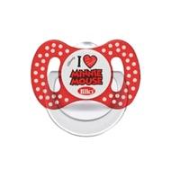Chupeta Lillo Disney - 0 a 6 meses, Minnie, branco e vermelho