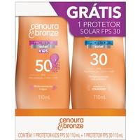Protetor Solar Cenoura & Bronze Kids Loção, FPS 50, 110mL + Grátis, Protetor FPS 30, 110mL