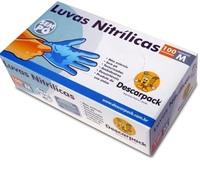 Luva Nitrílica Não Estéril Descarpack sem pó, M, azul, 100 unidades