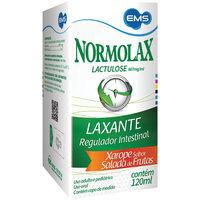 Normolax 667mg/mL, caixa com 1 frasco com 120mL de xarope + copo medidor (sabor salada de frutas)