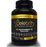 Polivitamínico Cabelo e Unha Celebrity Beauty & Care 750mg, frasco com 30 cápsulas
