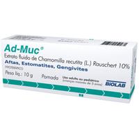 Ad-Muc 100mg/g, caixa com 1 bisnaga com 10g de pomada de uso bucal