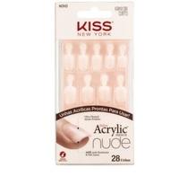 Unha Postiça Kiss NY Salon Acrylic French curto, nude breathtalking, 28 unidades