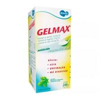 Gelmax 35,6mg/mL + 37mg/mL + 48,4mg/mL, caixa com 1 frasco com 240mL de suspensão de uso oral, hortelã + copo medidor