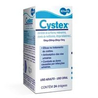 Cystex 15mg + 250mg + 20mg + 15mg, caixa com 24 drágeas