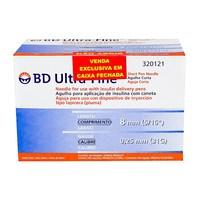 Agulha Descartável BD Ultra-fine curta, 8mm com 100 unidades