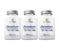 Chromium Picolinate Nature Healthy 250mcg, frasco, 3 unidades com 90 cápsulas cada