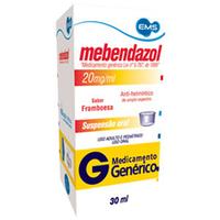 Mebendazol EMS 20mg/ml, caixa com 1 frasco com 30mL de suspensão oral
