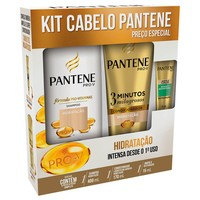 Kit Pantene Pro-V Hidratação Intensa - shampoo, 400mL + condicionador 3 Minutos Milagrosos, 170mL + grátis, ampola, 15mL