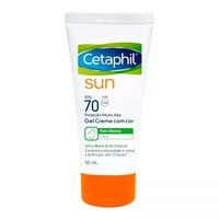 Protetor Solar Cetaphil Sun Gel Creme FPS 70 com cor, 50mL