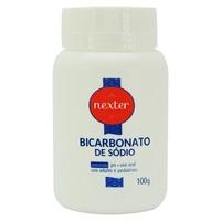 Bicarbonato de Sódio Nexter frasco com 100g de pó para solução de uso oral