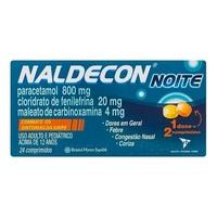 Naldecon Noite 400mg + 20mg + 4mg, caixa com 24 comprimidos