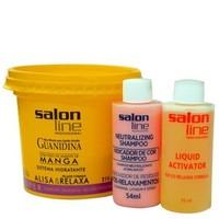 Kit de Relaxamento Guanidina Manga Salon Line  Creme 215g + Ativador 54mL + Shampoo 54mL