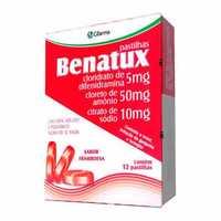 Benatux Pastilha 5 + 50 + 10mg, caixa com 12 pastilhas sabor, framboesa