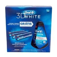70g, 3 unidades + grátis, solução bucal Oral B Pro-saúde Clinical Protection, 250mL