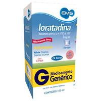 Loratadina EMS 1mg/mL, caixa com 1 frasco com 100mL de xarope + copo medidor