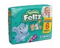Fralda Turminha Feliz G, pacote com 54 unidades + 6 unidades, grátis