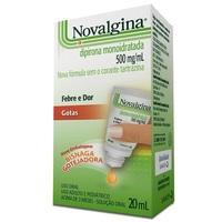 Novalgina 500mg/mL, caixa com 1 frasco gotejador com 20mL de solução de uso oral