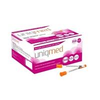 Seringas para Insulina com Agulha Uniqmed com agulha 6mm x 0,25mm, 100 unidades com capacidade de 0,3mL cada