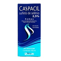Caspacil 25mg/mL, caixa com 1 frasco com 100mL de shampoo
