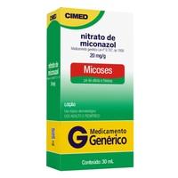 Nitrato de Miconazol Loção Cimed 20mg/g, caixa com 1 frasco com 30mL de loção de uso dermatológico